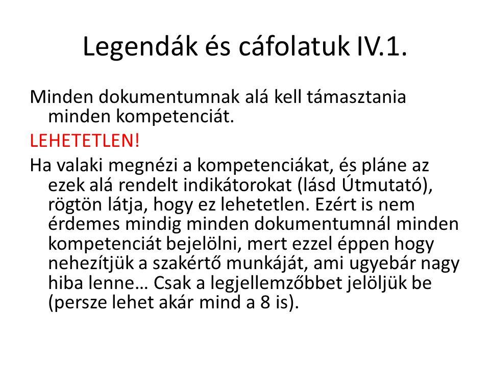Legendák és cáfolatuk IV.1.Minden dokumentumnak alá kell támasztania minden kompetenciát.