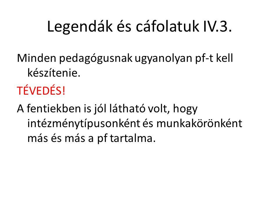 Legendák és cáfolatuk IV.3. Minden pedagógusnak ugyanolyan pf-t kell készítenie. TÉVEDÉS! A fentiekben is jól látható volt, hogy intézménytípusonként