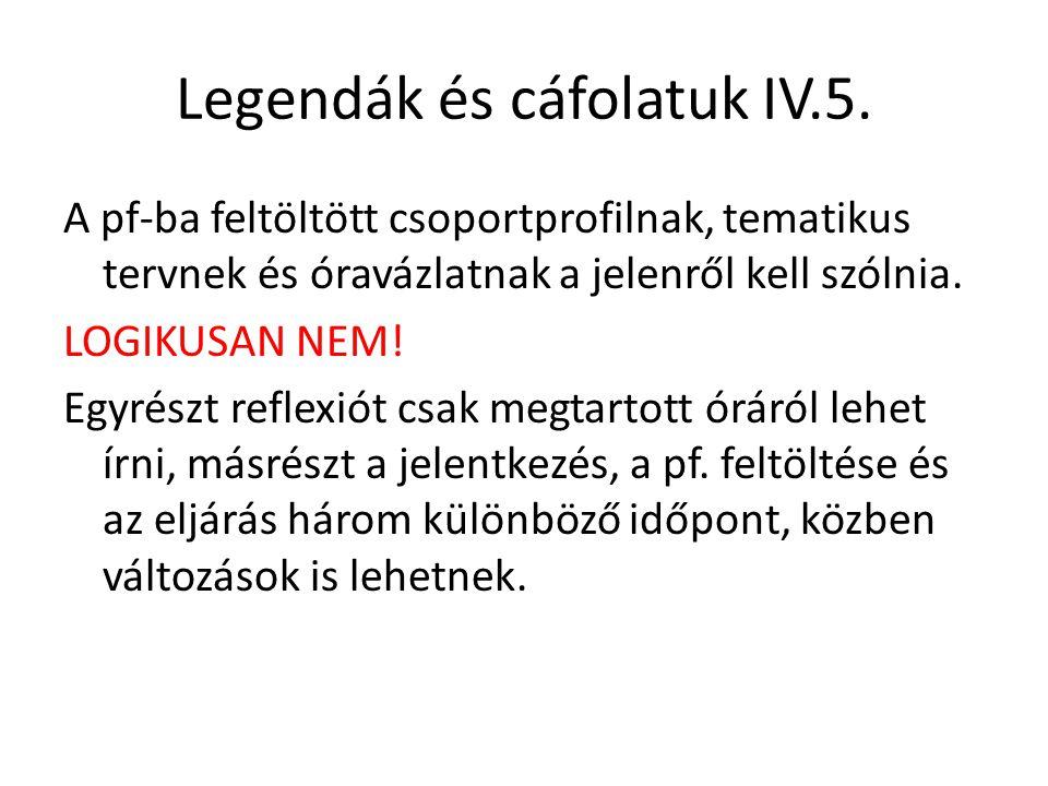 Legendák és cáfolatuk IV.5. A pf-ba feltöltött csoportprofilnak, tematikus tervnek és óravázlatnak a jelenről kell szólnia. LOGIKUSAN NEM! Egyrészt re