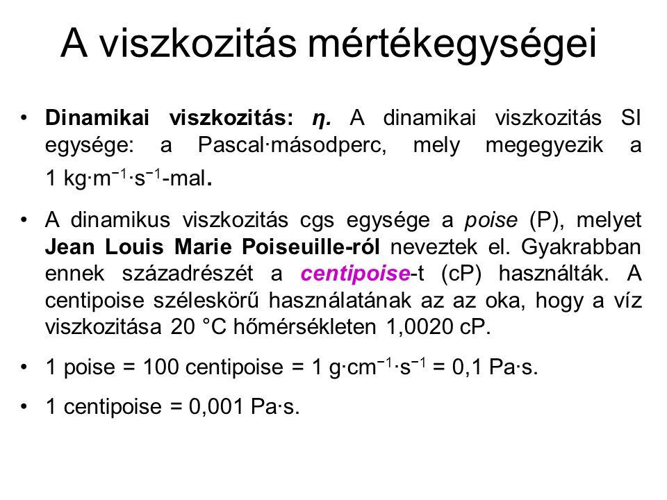 A viszkozitás mértékegységei Dinamikai viszkozitás: η.