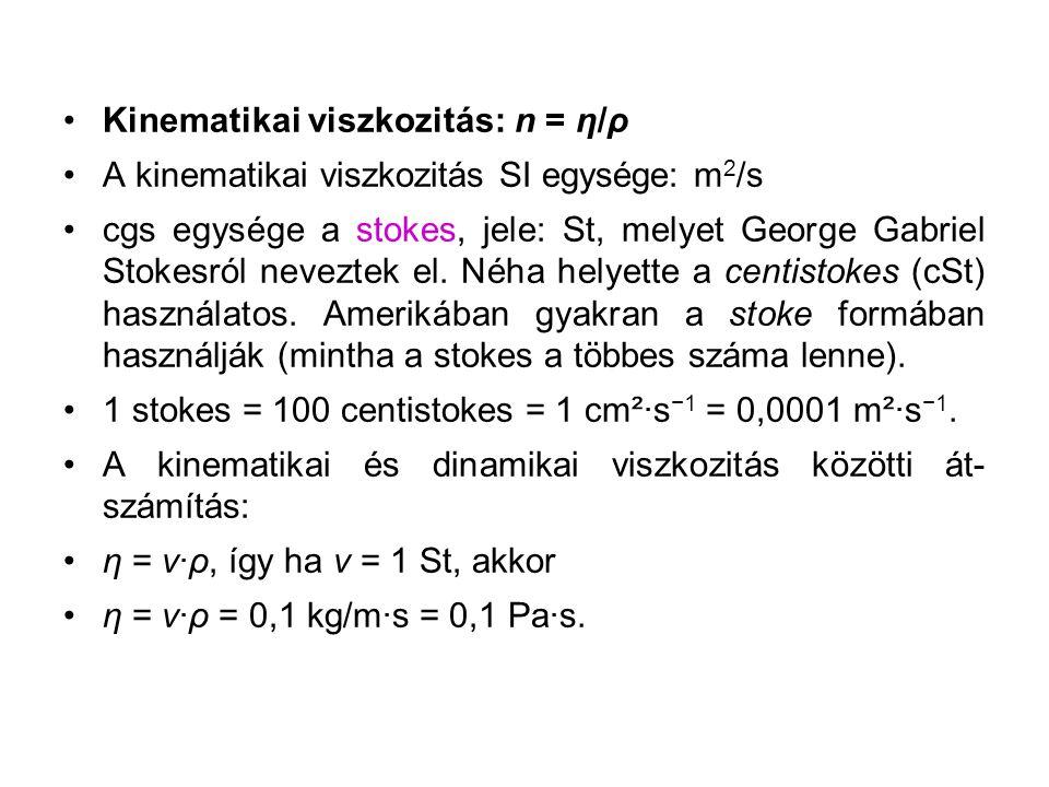 Kinematikai viszkozitás: n = η/ρ A kinematikai viszkozitás SI egysége: m 2 /s cgs egysége a stokes, jele: St, melyet George Gabriel Stokesról neveztek el.
