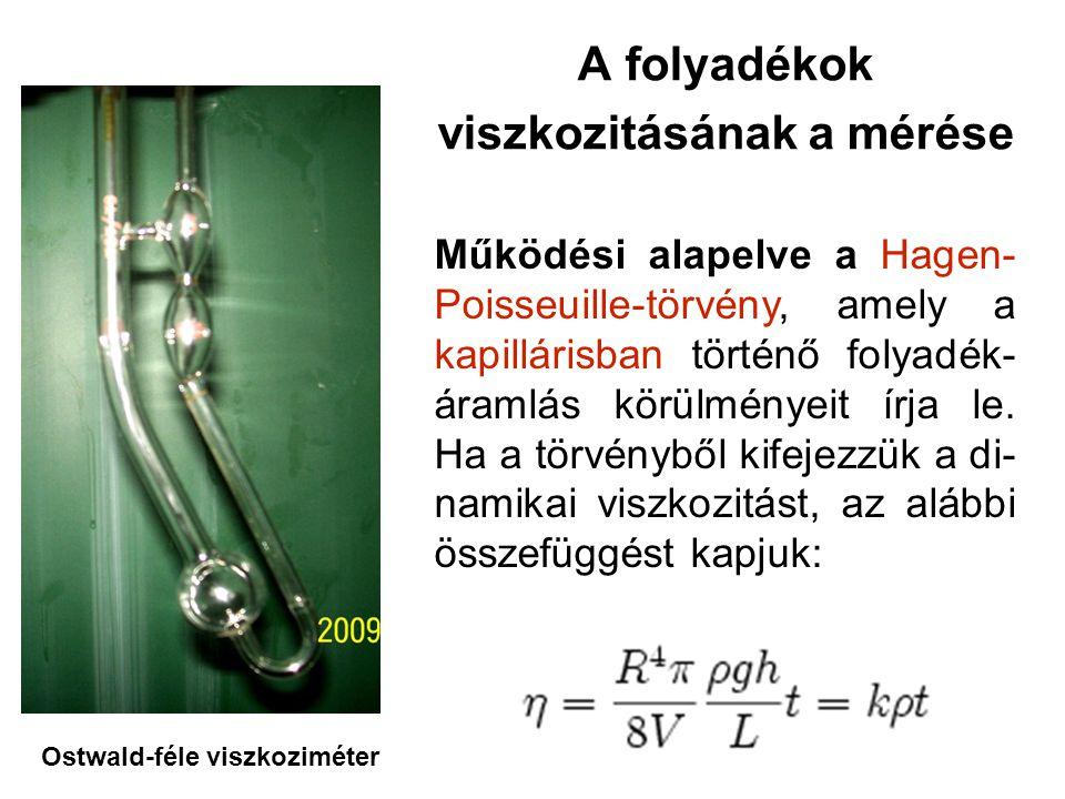 A folyadékok viszkozitásának a mérése Működési alapelve a Hagen- Poisseuille-törvény, amely a kapillárisban történő folyadék- áramlás körülményeit írja le.