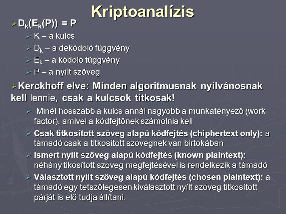 Kriptoanalízis  D k (E k (P)) = P  K – a kulcs  D k – a dekódoló függvény  E k – a kódoló függvény  P – a nyílt szöveg  Kerckhoff elve: Minden a