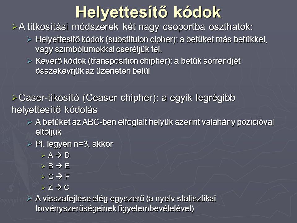 Helyettesítő kódok  A titkosítási módszerek két nagy csoportba oszthatók:  Helyettesítő kódok (substituion cipher): a betűket más betűkkel, vagy szi