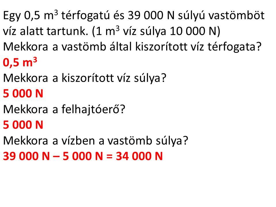 Egy 0,5 m 3 térfogatú és 39 000 N súlyú vastömböt víz alatt tartunk. (1 m 3 víz súlya 10 000 N) Mekkora a vastömb által kiszorított víz térfogata? 0,5