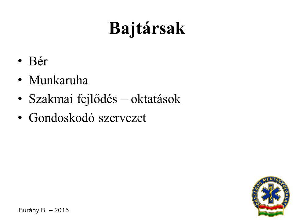Burány B. – 2015. Bajtársak Bér Munkaruha Szakmai fejlődés – oktatások Gondoskodó szervezet
