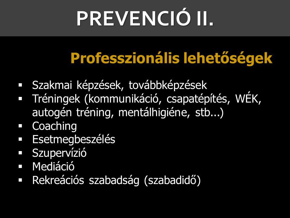 PREVENCIÓ II. 10 Professzionális lehetőségek  Szakmai képzések, továbbképzések  Tréningek (kommunikáció, csapatépítés, WÉK, autogén tréning, mentálh