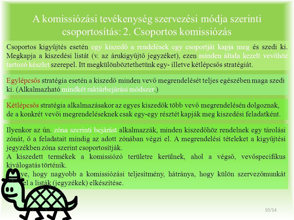 A komissiózási tevékenység szervezési módja szerinti csoportosítás: 2.
