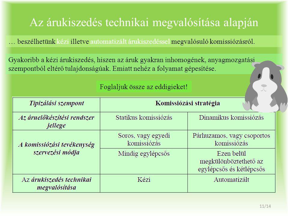 Az árukiszedés technikai megvalósítása alapján … beszélhetünk kézi illetve automatizált árukiszedéssel megvalósuló komissiózásról. Gyakoribb a kézi ár