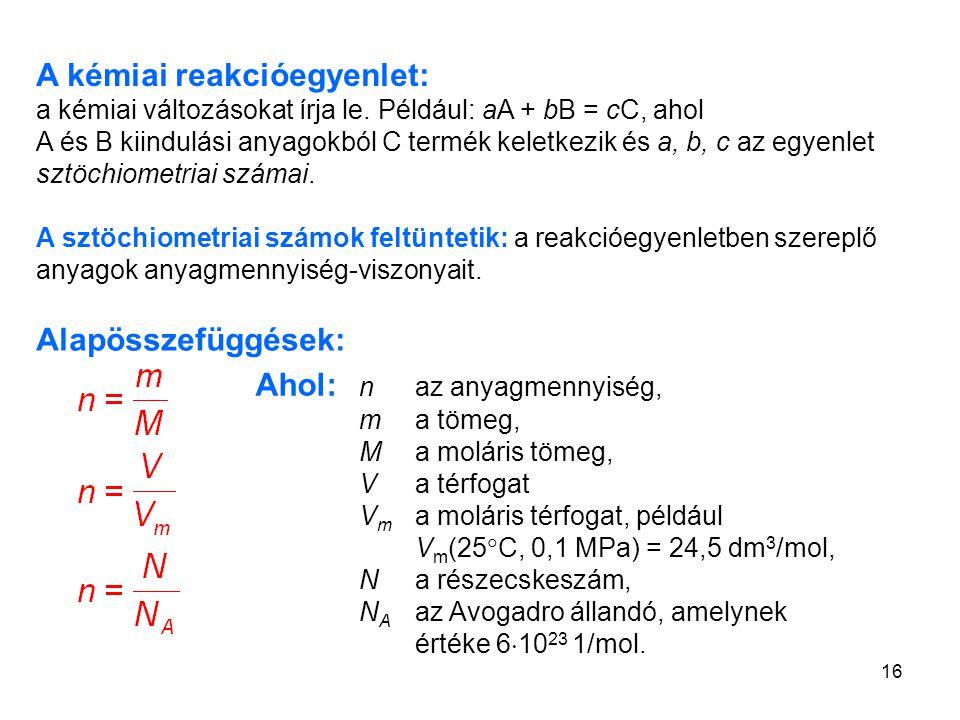 16 A kémiai reakcióegyenlet: a kémiai változásokat írja le. Például: aA + bB = cC, ahol A és B kiindulási anyagokból C termék keletkezik és a, b, c az