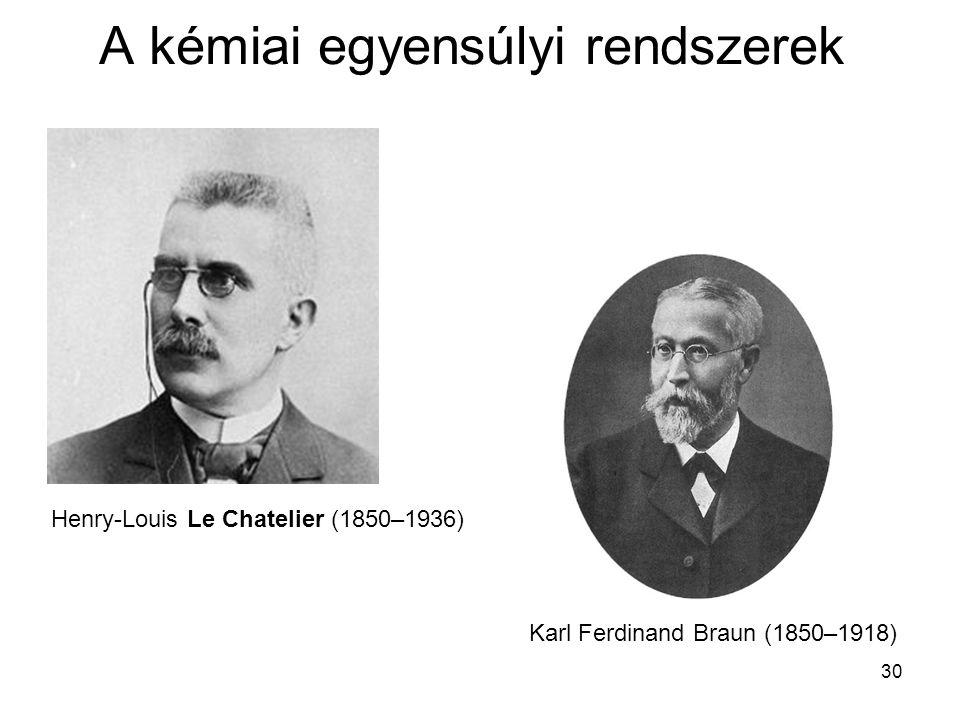 30 A kémiai egyensúlyi rendszerek Henry-Louis Le Chatelier (1850–1936) Karl Ferdinand Braun (1850–1918)