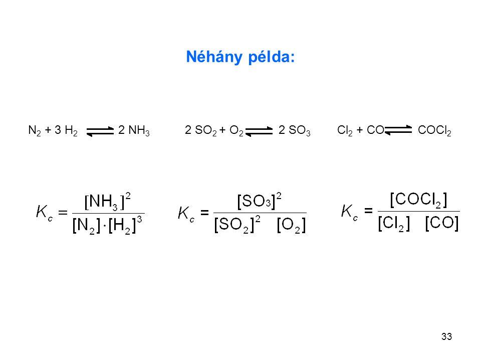 33 Néhány példa: 2 SO 2 + O 2 2 SO 3 Cl 2 + CO COCl 2 N 2 + 3 H 2 2 NH 3