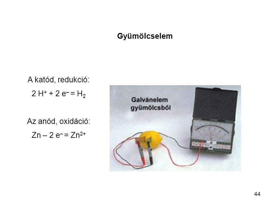 44 Gyümölcselem A katód, redukció: 2 H + + 2 e – = H 2 Az anód, oxidáció: Zn – 2 e – = Zn 2+