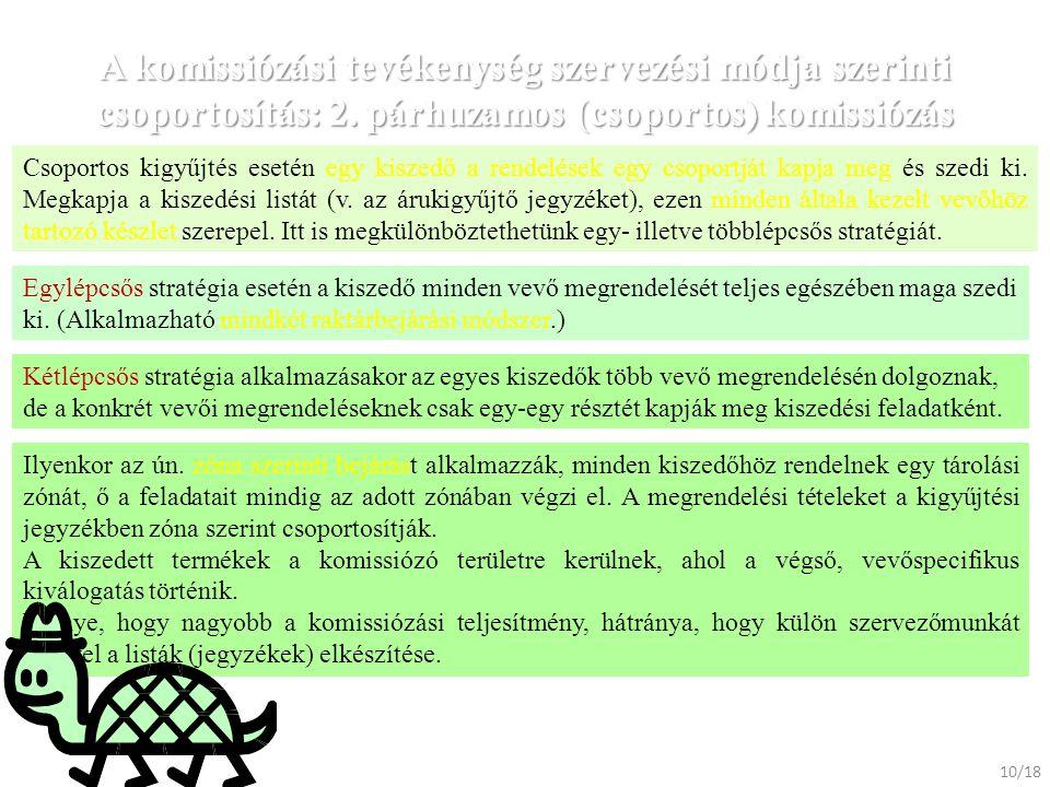 A komissiózási tevékenység szervezési módja szerinti csoportosítás: 2. párhuzamos (csoportos) komissiózás Csoportos kigyűjtés esetén egy kiszedő a ren