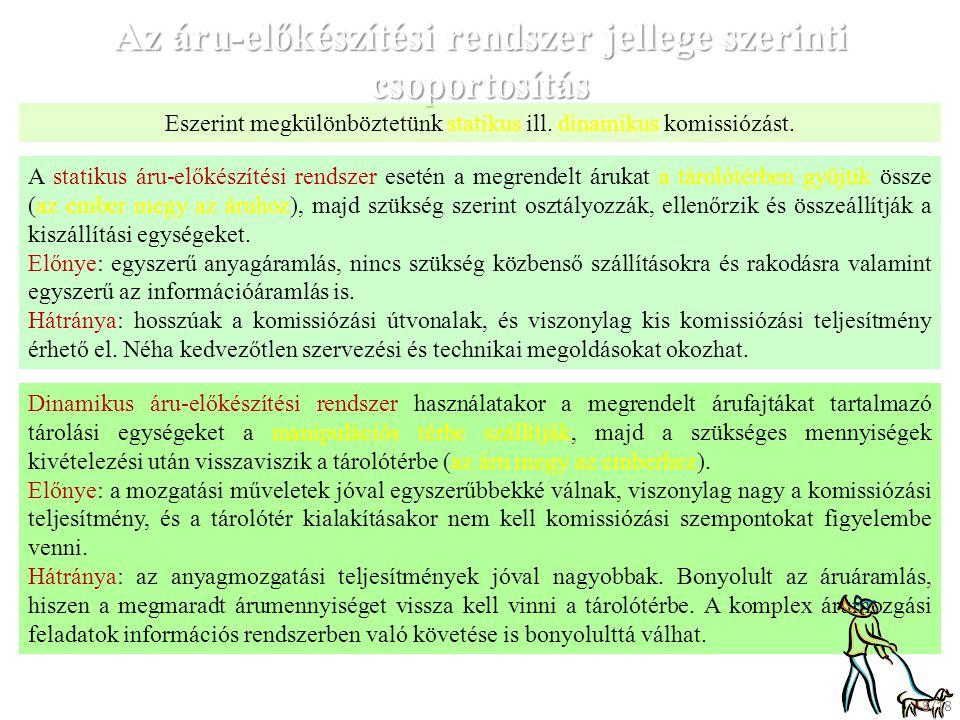 A komissiózási tevékenység szervezési módja szerinti csoportosítás: 1.