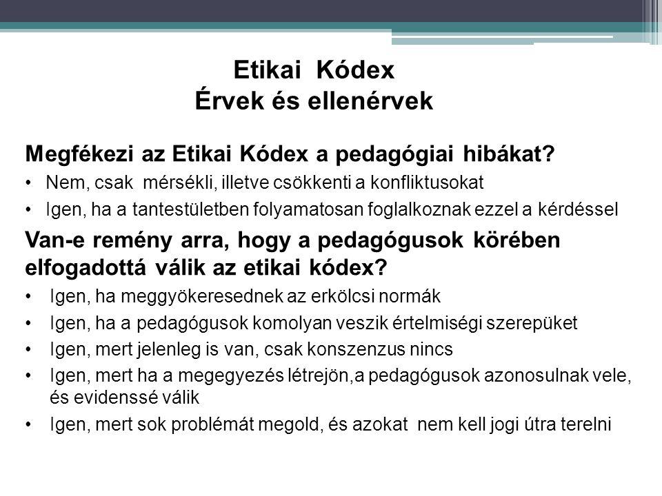 Megfékezi az Etikai Kódex a pedagógiai hibákat? Nem, csak mérsékli, illetve csökkenti a konfliktusokat Igen, ha a tantestületben folyamatosan foglalko