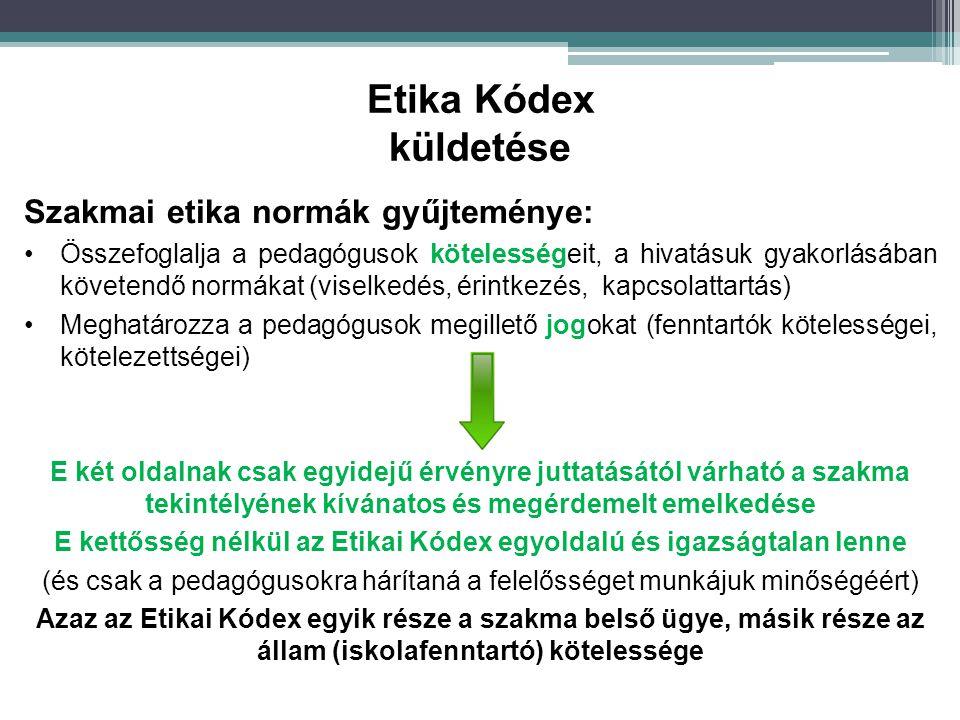 Szakmai etika normák gyűjteménye: Összefoglalja a pedagógusok kötelességeit, a hivatásuk gyakorlásában követendő normákat (viselkedés, érintkezés, kap