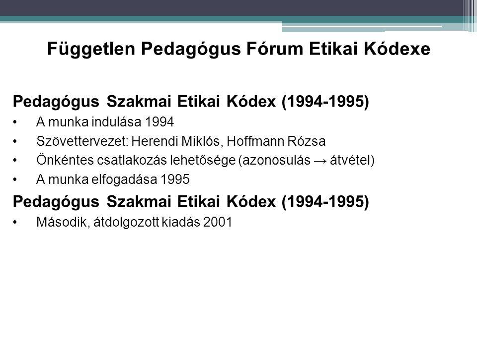 Pedagógus Szakmai Etikai Kódex (1994-1995) A munka indulása 1994 Szövettervezet: Herendi Miklós, Hoffmann Rózsa Önkéntes csatlakozás lehetősége (azono