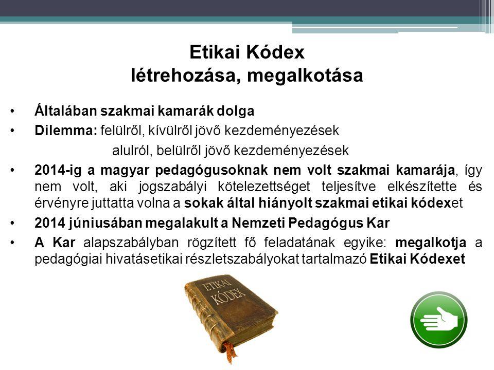 Általában szakmai kamarák dolga Dilemma: felülről, kívülről jövő kezdeményezések alulról, belülről jövő kezdeményezések 2014-ig a magyar pedagógusokna