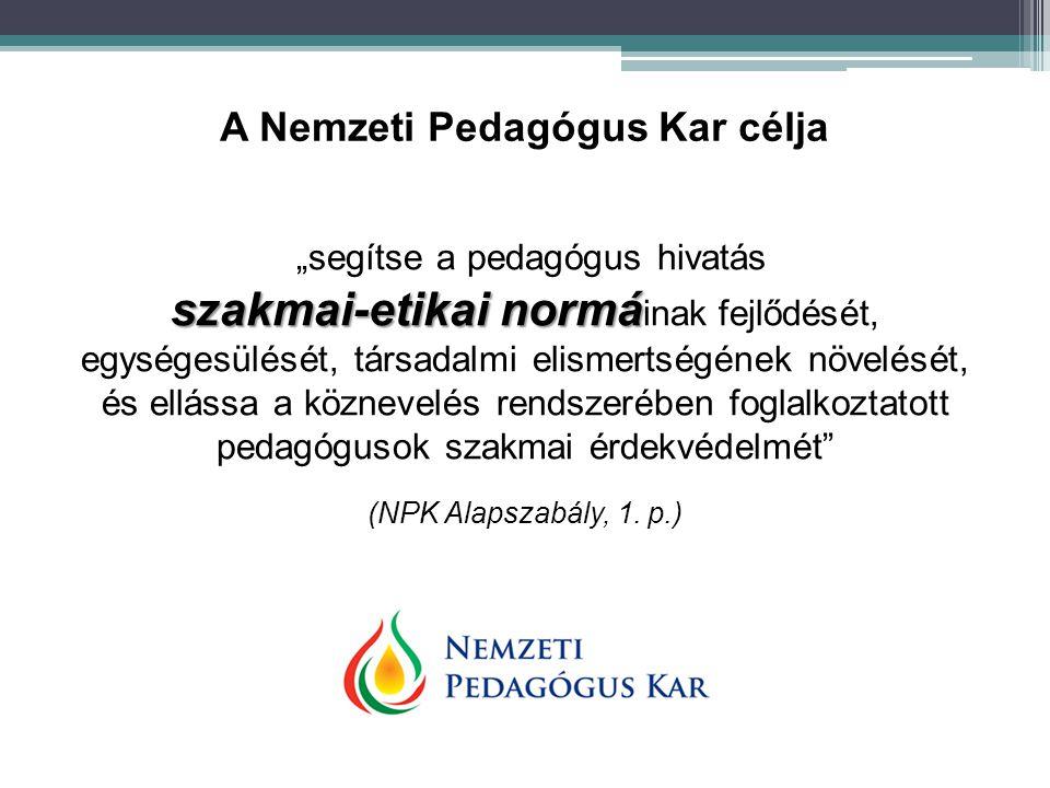"""""""segítse a pedagógus hivatás szakmai-etikai normá szakmai-etikai normá inak fejlődését, egységesülését, társadalmi elismertségének növelését, és ellás"""