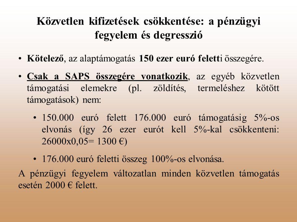 Közvetlen kifizetések csökkentése: a pénzügyi fegyelem és degresszió Kötelező, az alaptámogatás 150 ezer euró feletti összegére. Csak a SAPS összegére
