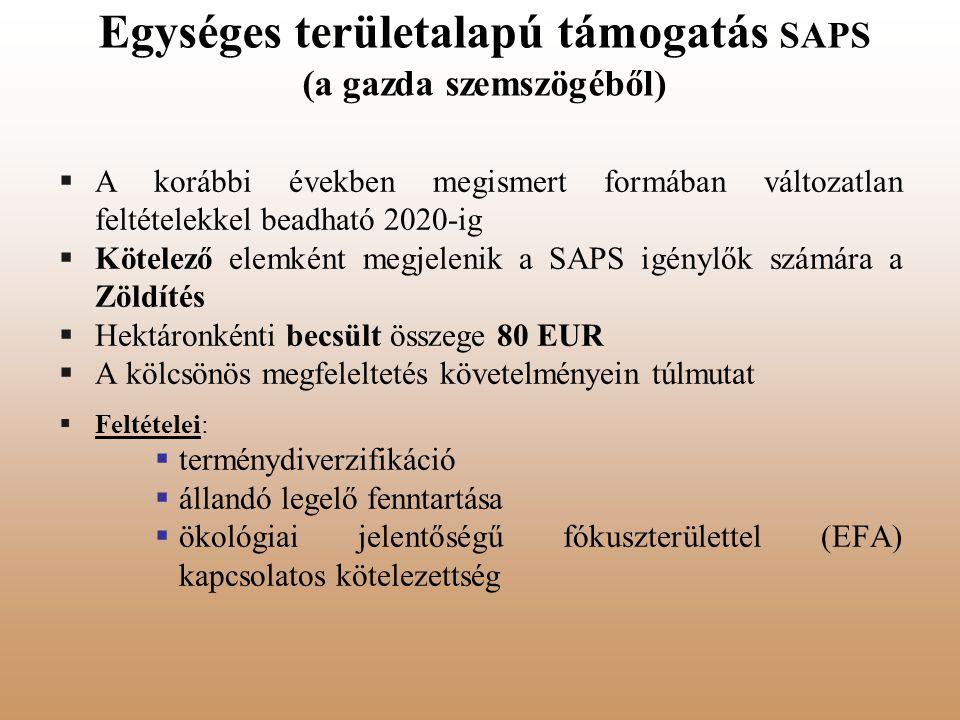 Egységes területalapú támogatás SAPS (a gazda szemszögéből)  A korábbi években megismert formában változatlan feltételekkel beadható 2020-ig  Kötele