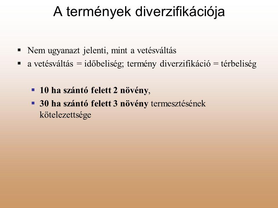 A termények diverzifikációja  Nem ugyanazt jelenti, mint a vetésváltás  a vetésváltás = időbeliség; termény diverzifikáció = térbeliség  10 ha szán