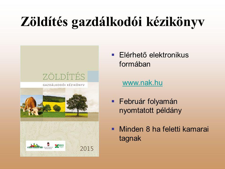 Zöldítés gazdálkodói kézikönyv  Elérhető elektronikus formában www.nak.hu  Február folyamán nyomtatott példány  Minden 8 ha feletti kamarai tagnak