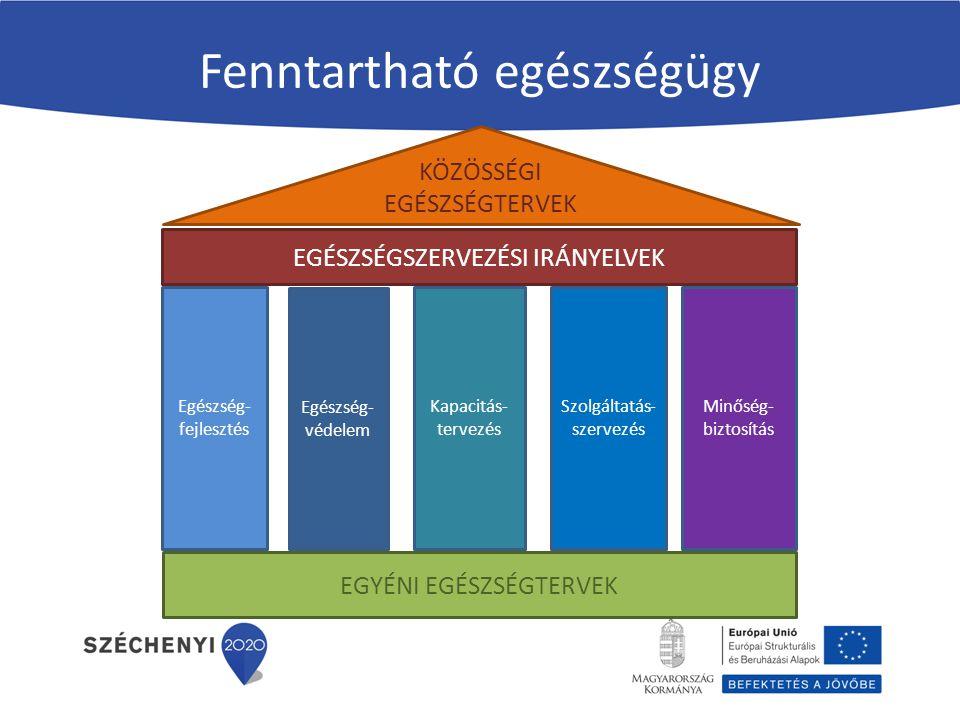 Fenntartható egészségügy KÖZÖSSÉGI EGÉSZSÉGTERVEK Egészség- fejlesztés Egészség- védelem Kapacitás- tervezés Szolgáltatás- szervezés EGÉSZSÉGSZERVEZÉS