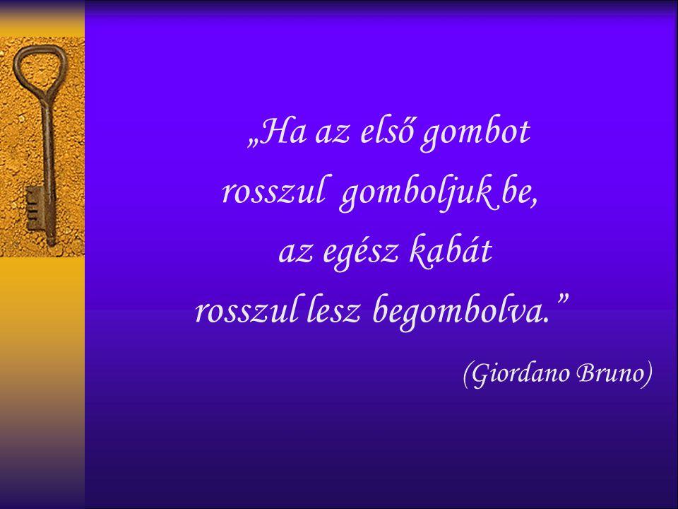 """""""Ha az első gombot rosszul gomboljuk be, az egész kabát rosszul lesz begombolva. (Giordano Bruno)"""