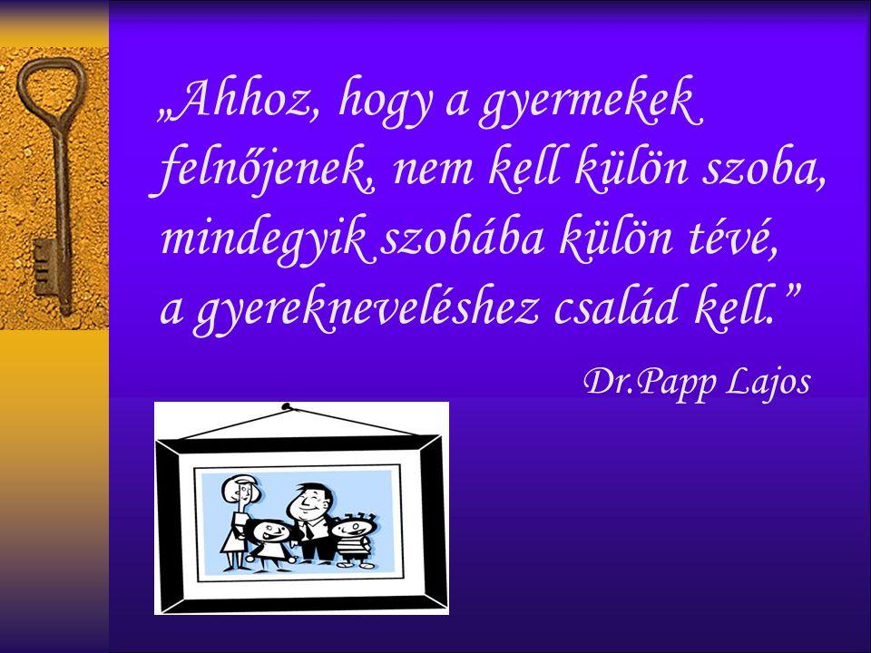 """""""Ahhoz, hogy a gyermekek felnőjenek, nem kell külön szoba, mindegyik szobába külön tévé, a gyerekneveléshez család kell. Dr.Papp Lajos"""