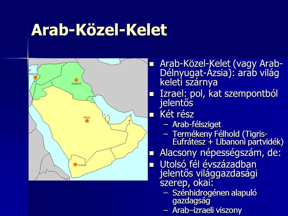 Arab-Közel-Kelet Arab-Közel-Kelet (vagy Arab- Délnyugat-Ázsia): arab világ keleti szárnya Arab-Közel-Kelet (vagy Arab- Délnyugat-Ázsia): arab világ keleti szárnya Izrael: pol, kat szempontból jelentős Izrael: pol, kat szempontból jelentős Két rész Két rész –Arab-félsziget –Termékeny Félhold (Tigris- Eufrátesz + Libanoni partvidék) Alacsony népességszám, de: Alacsony népességszám, de: Utolsó fél évszázadban jelentős világgazdasági szerep, okai: Utolsó fél évszázadban jelentős világgazdasági szerep, okai: –Szénhidrogénen alapuló gazdagság –Arab–izraeli viszony