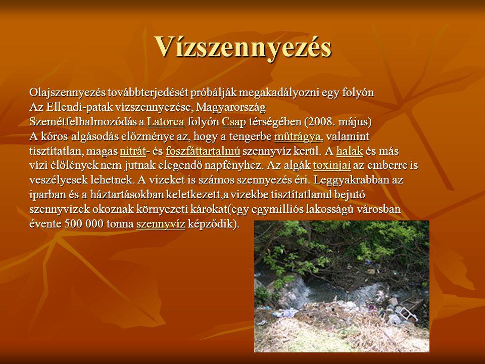 Vízszennyezés Olajszennyezés továbbterjedését próbálják megakadályozni egy folyón Az Ellendi-patak vízszennyezése, Magyarország Szemétfelhalmozódás a