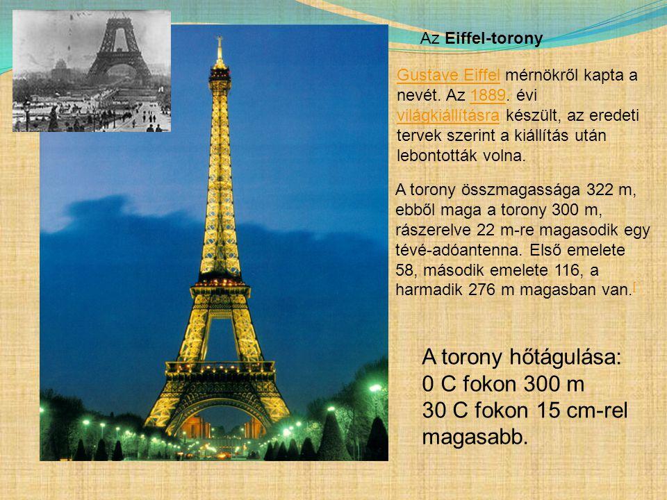 A torony hőtágulása: 0 C fokon 300 m 30 C fokon 15 cm-rel magasabb.