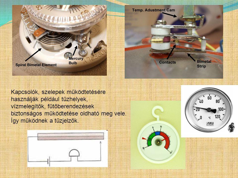 Kapcsolók, szelepek működtetésére használják például tűzhelyek, vízmelegítők, fűtőberendezések biztonságos működtetése oldható meg vele.
