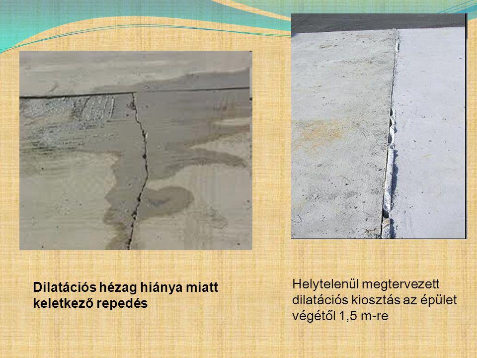Dilatációs hézag hiánya miatt keletkező repedés Helytelenül megtervezett dilatációs kiosztás az épület végétől 1,5 m-re