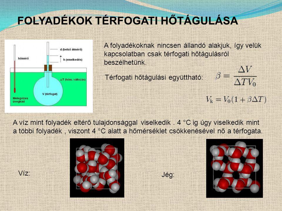 FOLYADÉKOK TÉRFOGATI HŐTÁGULÁSA A folyadékoknak nincsen állandó alakjuk, így velük kapcsolatban csak térfogati hőtágulásról beszélhetünk.