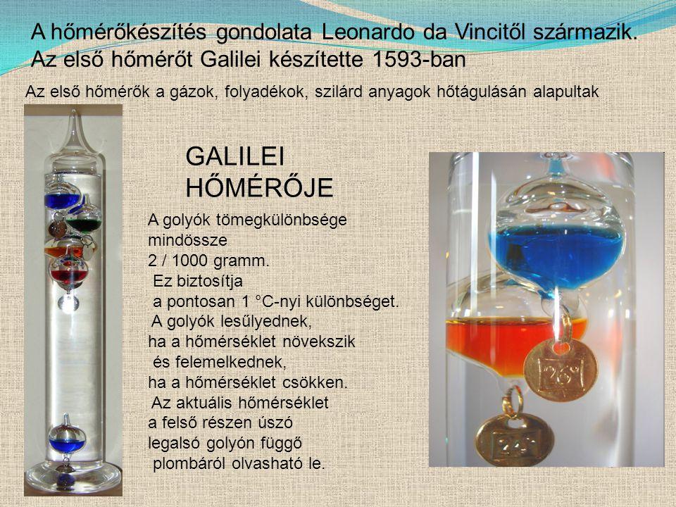 GALILEI HŐMÉRŐJE A golyók tömegkülönbsége mindössze 2 / 1000 gramm.