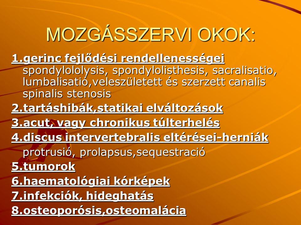 MOZGÁSSZERVI OKOK: 1.gerinc fejlődési rendellenességei spondylololysis, spondylolisthesis, sacralisatio, lumbalisatió,veleszületett és szerzett canali