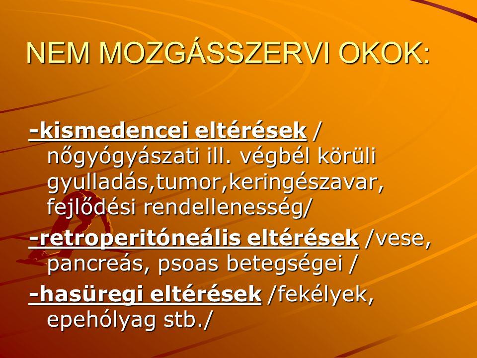 NEM MOZGÁSSZERVI OKOK: -kismedencei eltérések / nőgyógyászati ill. végbél körüli gyulladás,tumor,keringészavar, fejlődési rendellenesség/ -retroperitó