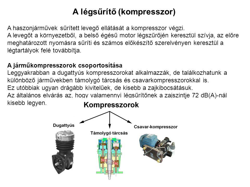 A légsűrítő (kompresszor) A haszonjárművek sűrített levegő ellátását a kompresszor végzi. A levegőt a környezetből, a belső égésű motor légszűrőjén k