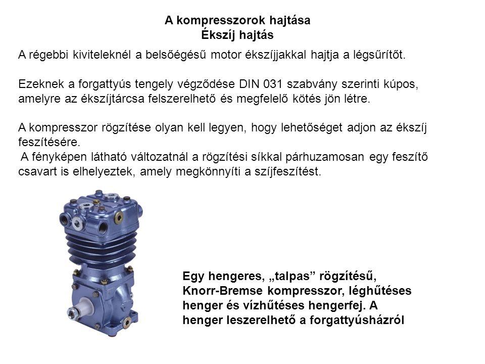 A kompresszorok hajtása Ékszíj hajtás A régebbi kiviteleknél a belsőégésű motor ékszíjjakkal hajtja a légsűrítőt. Ezeknek a forgattyús tengely végződé