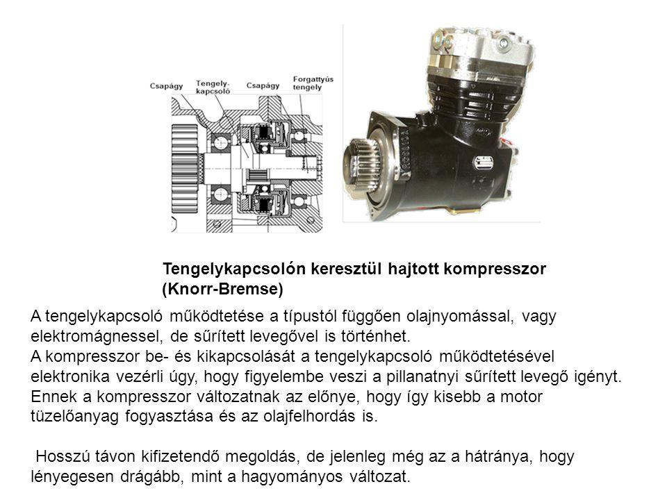 Tengelykapcsolón keresztül hajtott kompresszor (Knorr-Bremse) A tengelykapcsoló működtetése a típustól függően olajnyomással, vagy elektromágnessel, d