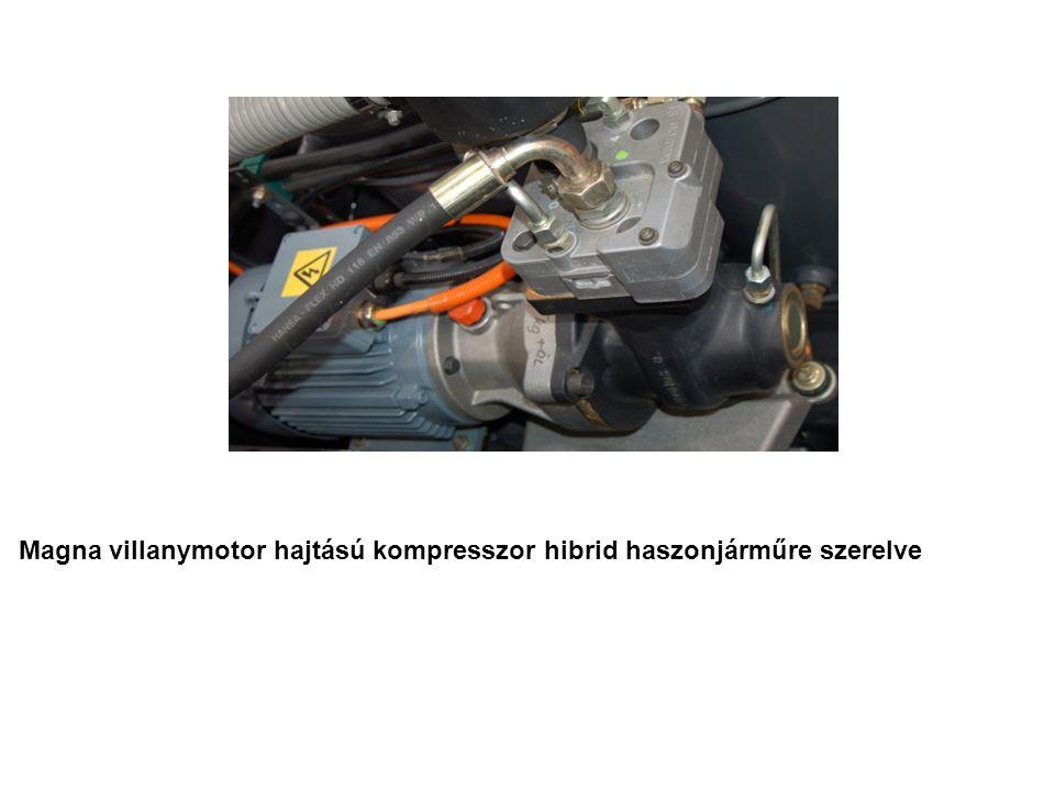 Magna villanymotor hajtású kompresszor hibrid haszonjárműre szerelve