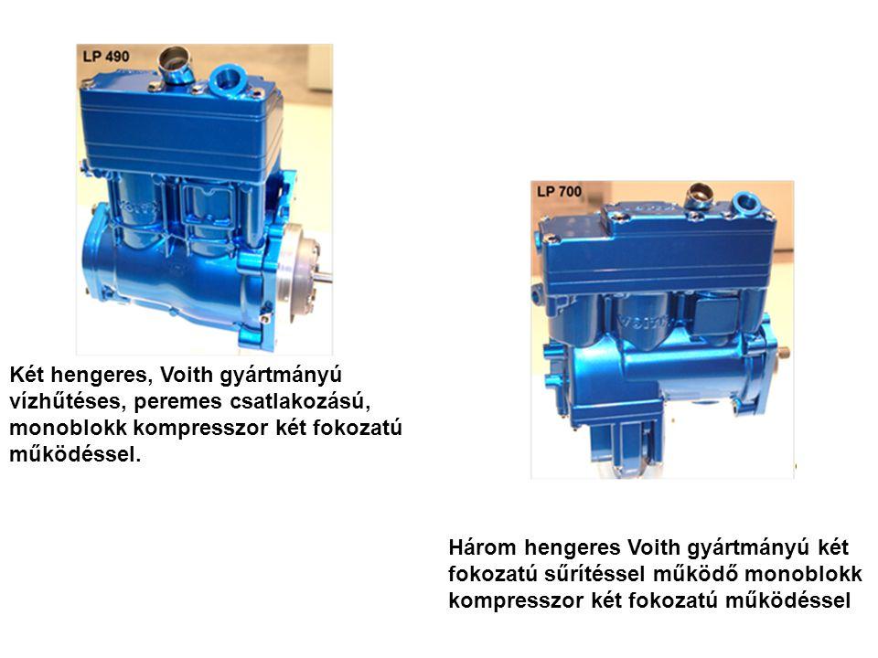 Két hengeres, Voith gyártmányú vízhűtéses, peremes csatlakozású, monoblokk kompresszor két fokozatú működéssel. Három hengeres Voith gyártmányú két fo