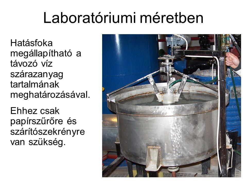 Laboratóriumi méretben Hatásfoka megállapítható a távozó víz szárazanyag tartalmának meghatározásával. Ehhez csak papírszűrőre és szárítószekrényre va