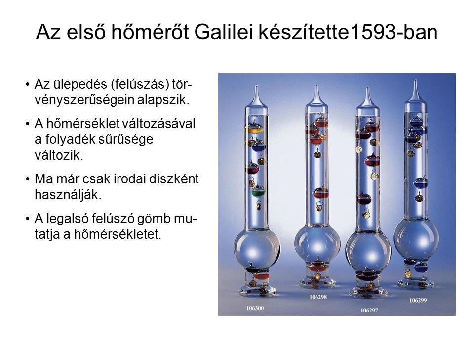 Az első hőmérőt Galilei készítette1593-ban Az ülepedés (felúszás) tör- vényszerűségein alapszik. A hőmérséklet változásával a folyadék sűrűsége változ