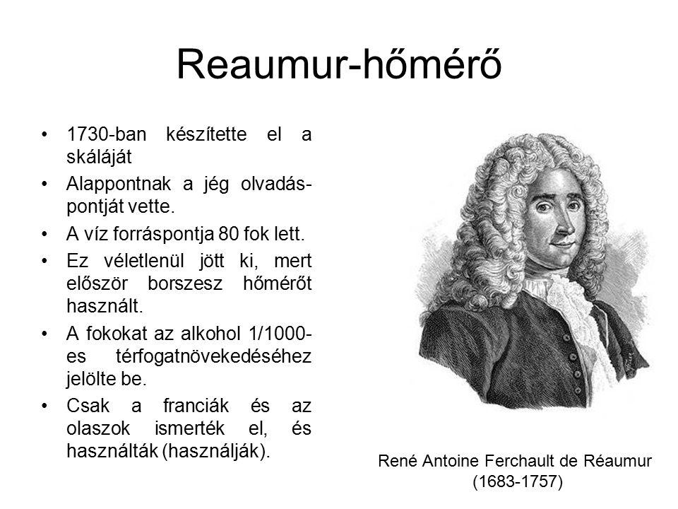 Reaumur-hőmérő 1730-ban készítette el a skáláját Alappontnak a jég olvadás- pontját vette. A víz forráspontja 80 fok lett. Ez véletlenül jött ki, mert