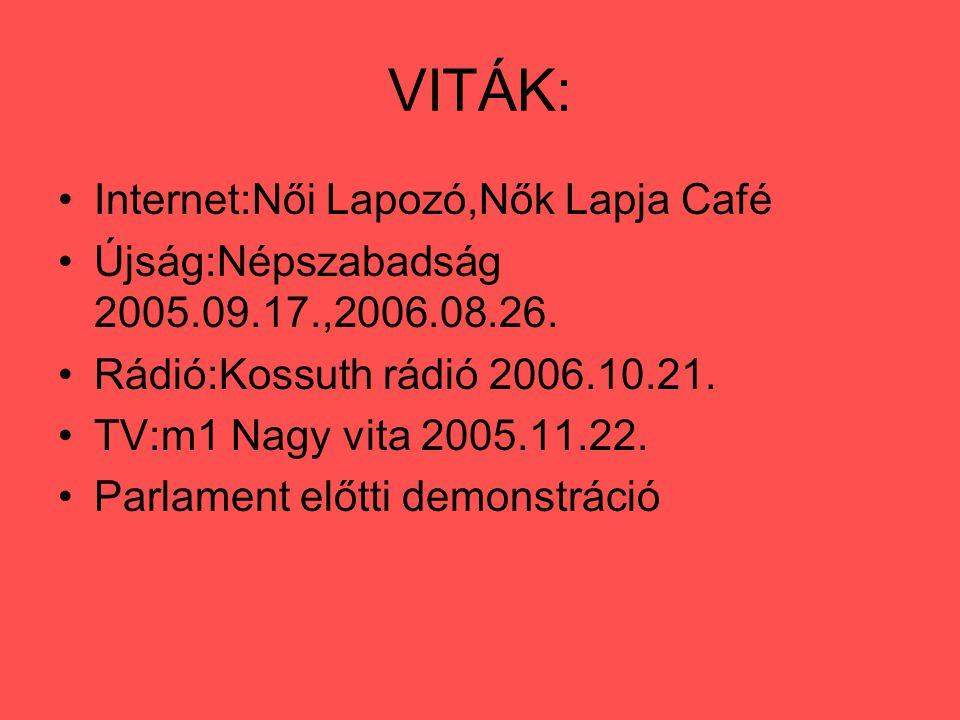 VITÁK: Internet:Női Lapozó,Nők Lapja Café Újság:Népszabadság 2005.09.17.,2006.08.26. Rádió:Kossuth rádió 2006.10.21. TV:m1 Nagy vita 2005.11.22. Parla