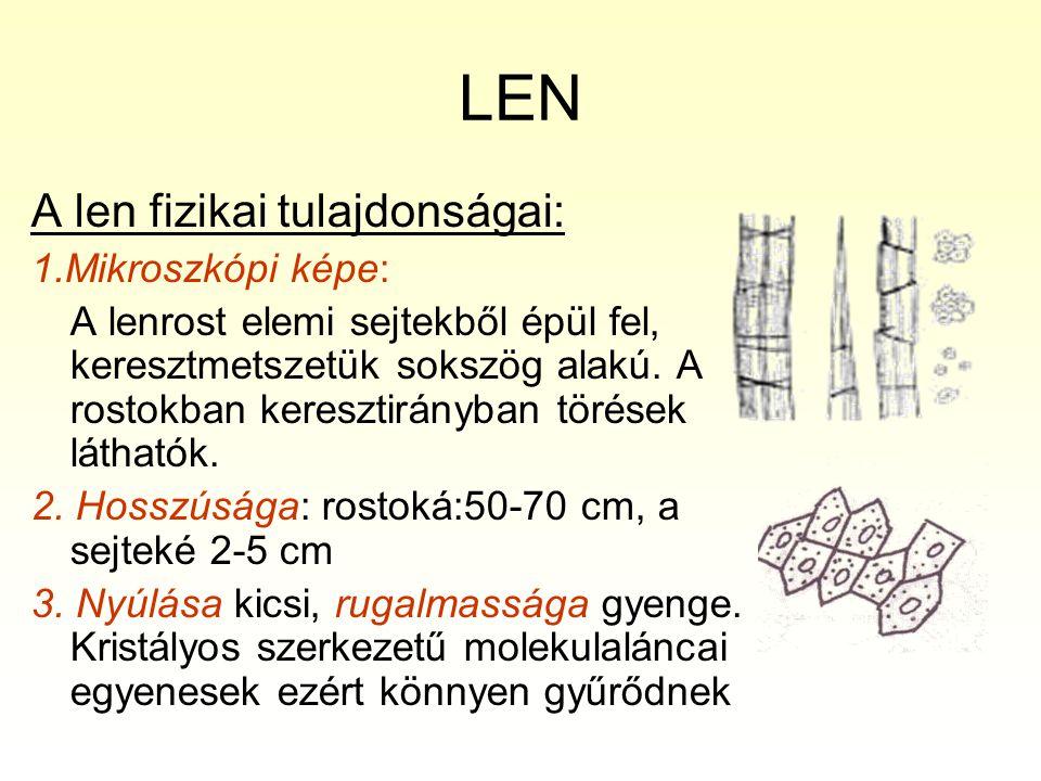 LEN A len fizikai tulajdonságai: 1.Mikroszkópi képe: A lenrost elemi sejtekből épül fel, keresztmetszetük sokszög alakú. A rostokban keresztirányban t
